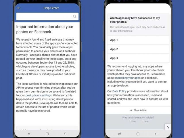 PHOTO: Facebook released this info about a photo API bug that may have affected up to 6.8 million users.