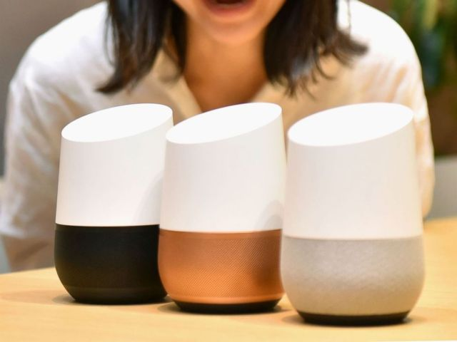 PHOTO: The Google Home smart speaker, as shown during a press event in Tokyo on Oct. 5, 2017, will be sold in Japan from Oct. 6. Its compact version, the Google Home Mini, will also become available.