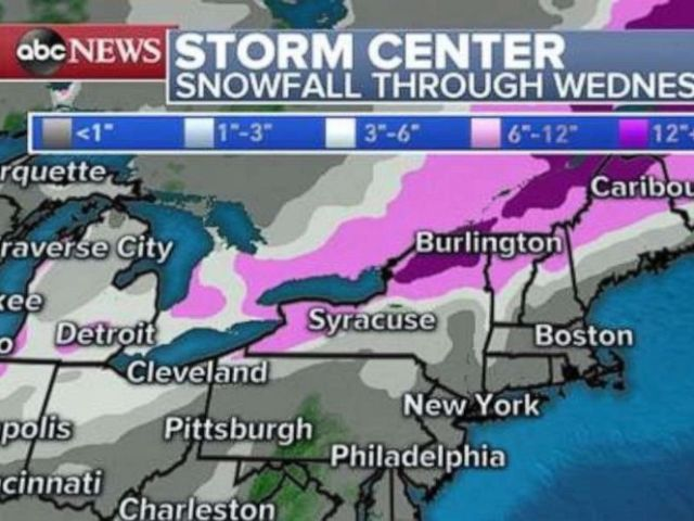 PHOTO: A wide swath of snow will stretch from Arkansas to Maine, with the heaviest into parts of Ohio, Kentucky, and Western New York.