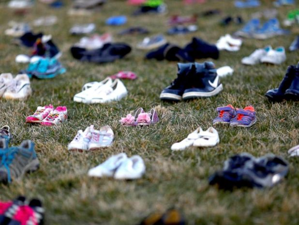PHOTO: Over 7000 shoes sit on the lawn in front of the U.S. Capitol in Washington, D.C.,March 13, 2018. Members of AVAAZ spent the morning placing them as a symbol of the number of lives lost since the shooting at Sandy Hook elementary in Newtown, Ct.