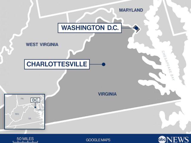 PHOTO: Distance entre D.C. et Charlottesville