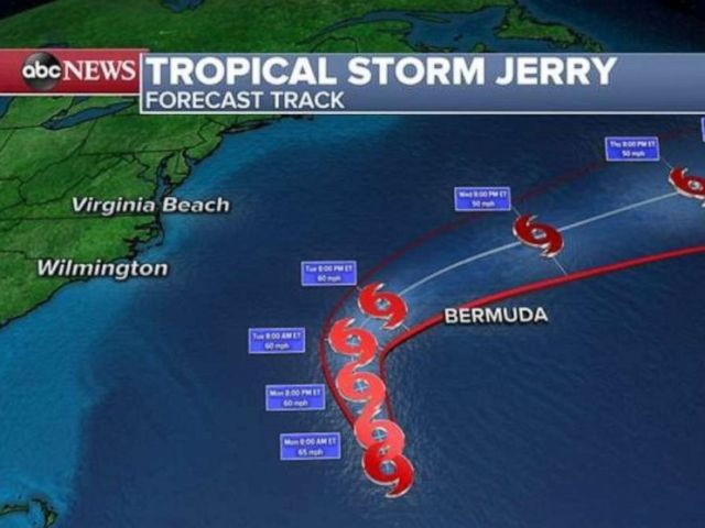 PHOTO: Tropical Storm Jerry is not expected to strengthen but a Tropical Storm Watch has been issued in Bermuda.