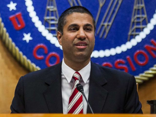 PHOTO: Ajit Pai, chairman of the Federal Communications Commission (FCC), speaks during an open meeting in Washington, D.C., Nov. 16, 2017.
