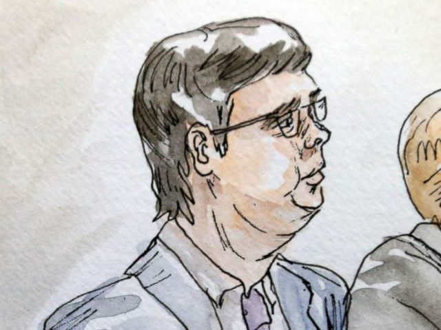 PHOTO: In this courtroom sketch James Alex Fields Jr., center, sits with his attorneys during the second day of jury selection in his trial in Charlottesville General District Court in Charlottesville, Va., Nov. 27, 2018.