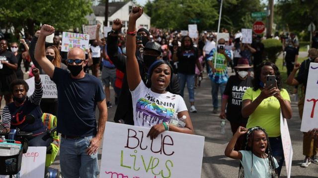 PHOTO: Protesters calling for justice in the shooting death of Andrew Brown Jr. by Pasquotank County Sheriff's deputies march through Elizabeth City, North Carolina, May 2, 2021.