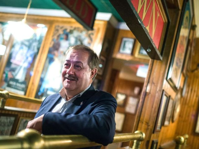 PHOTO: Don Blankenship, who is running for the Republican nomination for Senate in West Virginia, attends a town hall meeting at Macados restaurant in Bluefield, W.Va., May 3, 2018.