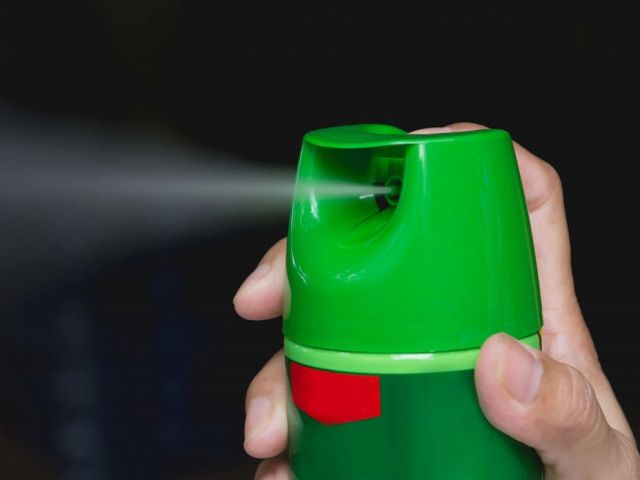 PHOTO: In this file photo, a hand is shown spraying insect spray.
