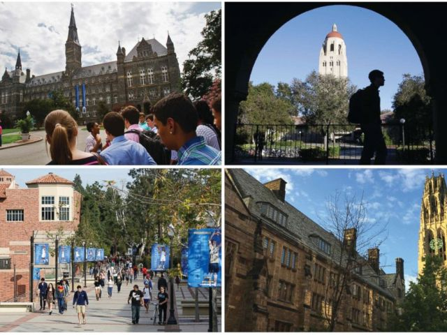 PHOTO: This combination of images shows college campuses, clockwise from top left, Georgetown University, Stanford University, Yale University, and University of California, Los Angeles.