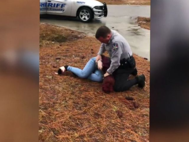 PHOTO: A teen filmed her sister being tackled to the ground by a police officer after her boyfriends car was searched for drugs in Harnett County, N.C., on Dec. 10, 2018.