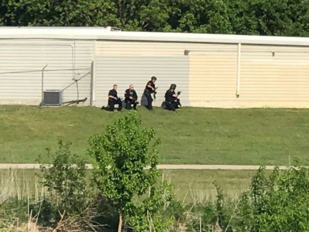 PHOTO: A view of the scene where a police-involved shooting took place, April 24, 2018, in Dallas, Texas.