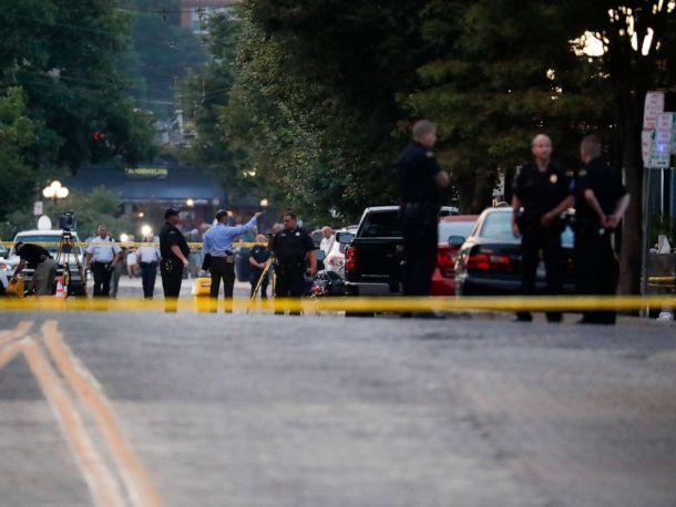 PHOTO: Authorities work the scene of a mass shooting, Sunday, Aug. 4, 2019, in Dayton, Ohio.