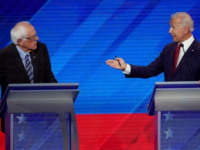 PHOTO: Sen. Bernie Sanders listens as former Vice President Joe Biden speaks, Sept. 12, 2019, during a Democratic presidential primary debate hosted by ABC at Texas Southern University in Houston.
