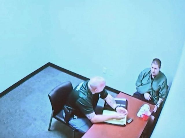 PHOTO: A screen grab from video of Michael Drejka being interrogated by police was played in court by Pinellas County prosecutors in Clearwater, Fla, Aug. 22, 2019.