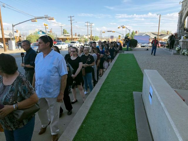 PHOTO: Mourners wait in line, Friday, Aug. 16, 2019, for the memorial services in El Paso, Texas, of Margie Reckard, 63, who was killed by a gunman who opened fire at a Walmart in El Paso earlier in the month.