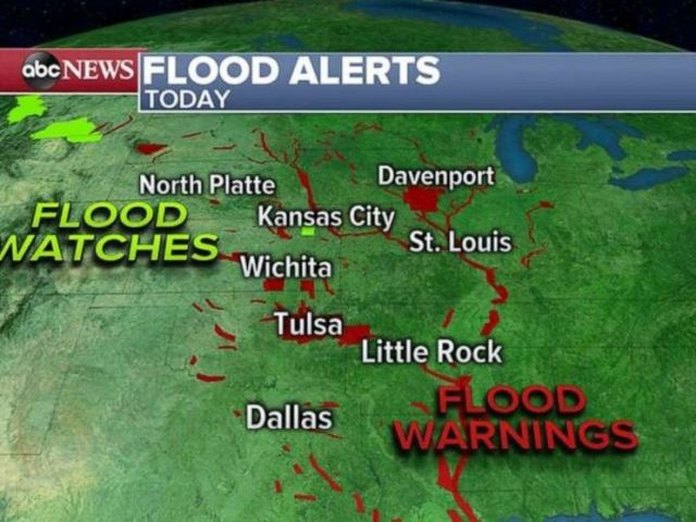 PHOTO: Flood warnings are in place along the Arkansas, Mississippi and Missouri rivers due to heavy rain over the past two weeks.