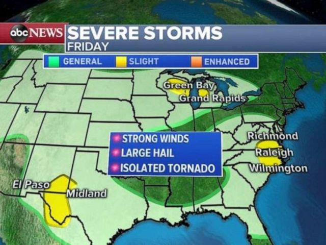 PHOTO: Severe storms are possible in western Texas, the Great Lakes and the Carolinas on Friday.