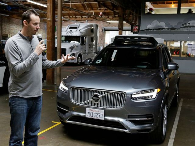 PHOTO: Anthony Levandowski speaks to the press about Ubers driverless car in San Francisco, Dec. 13, 2016.