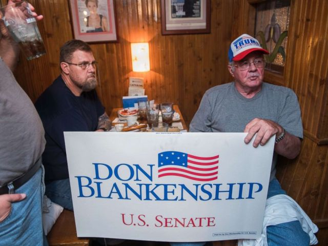 PHOTO: Supporters of Don Blankenship, who is running for the Republican nomination for Senate in West Virginia, attend a town hall meeting at Macados restaurant in Bluefield, W.Va.,May 3, 2018.