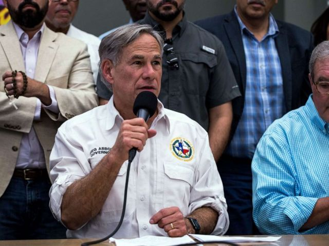 PHOTO: Texas Governor Greg Abbott speaks during a press briefing, following a mass fatal shooting, at the El Paso Regional Communications Center in El Paso, Texas, on Aug. 3, 2019.