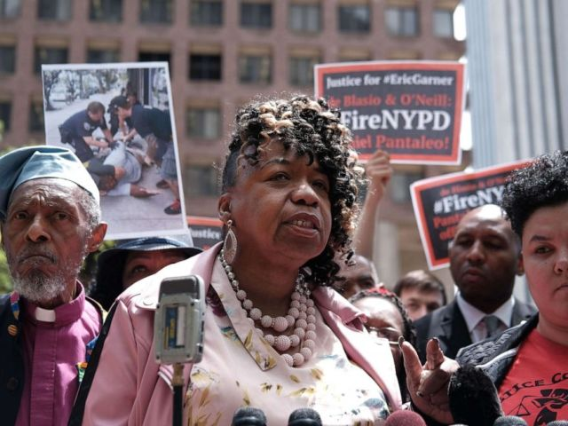 PHOTO: Gwen Carr, mother of Eric Garner, joins others during a news conference outside of Police Headquarters in Manhattan to protest during the police disciplinary hearing for Officer Daniel Pantaleo on May 21, 2019, in New York.