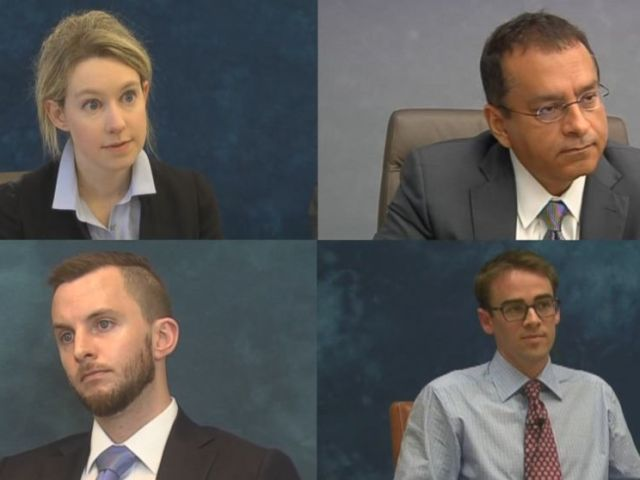 """From left to right, Theranos CEO Elizabeth Holmes, Ramesh """"Sunny"""" Balwani, her brother Christian and whistleblower Tyler Shultz are seen here during their depositions."""