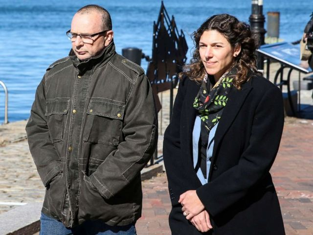 PHOTO: Igor Dvorskiy, left, director of a private elementary and high school in Los Angeles and standardized test administrator for the College Board and ACT Inc., is pictured outside the John Joseph Moakley Courthouse in Boston, March 25, 2019.