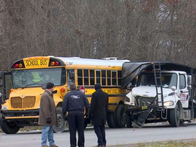 PHOTO: A packed school bus collided with a flatbed truck in a fatal accident, Dec. 5, 2018, in Indiana.