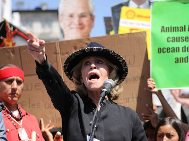 PHOTO: Actress and activist Jane Fonda talks to a crowd of protestors during a global climate rally at Pershing Square in downtown Los Angeles on Sept. 20, 2019.