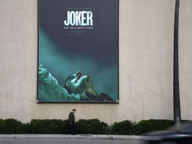 PHOTO: A poster for the upcoming film The Joker is seen outside Warner Brothers Studios in Burbank, Calif., Sept. 27, 2019.