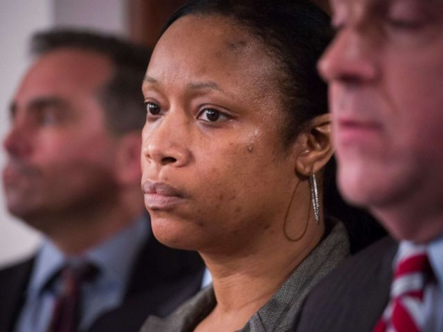 PHOTO: Sgt. Kizzy Adonis of the New York Police Department, at a news conference regarding internal disciplinary charges over her role in the 2014 death of Eric Garner, in New York, Jan. 8, 2016.