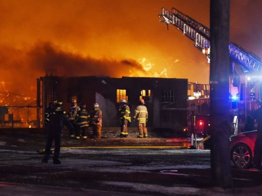 PHOTO: Firefighters battle a four alarm fire at the Marcal paper factory in Elmwood Park, N.J., Jan. 30, 2019.