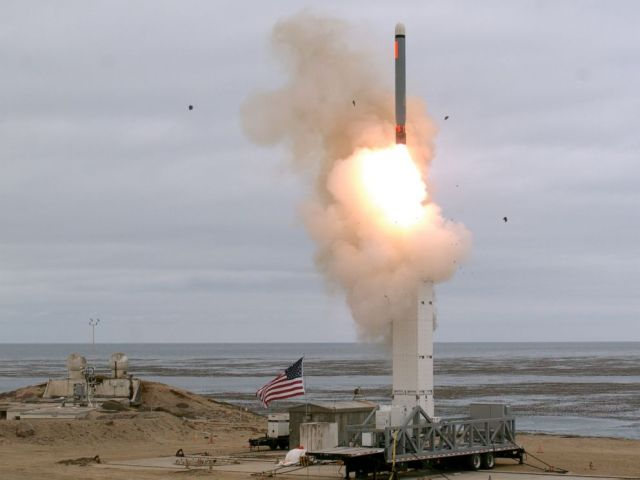 PHOTO: On Aug. 18, at 2:30 p.m. the Defense Department conducted a flight test of a conventionally configured ground-launched cruise missile at San Nicolas Island, Calif.