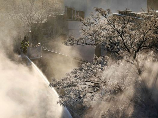 PHOTO: Ice forms on tree branches as New York firefighters battle a blaze in a commercial building in the Bedford Stuyvesant neighborhood of Brooklyn, Jan. 31, 2019, in N.Y.