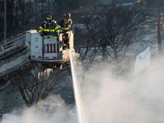 PHOTO: New York firefighters battle a blaze in a commercial building in the Bedford Stuyvesant neighborhood of Brooklyn, Jan. 31, 2019 in N.Y.