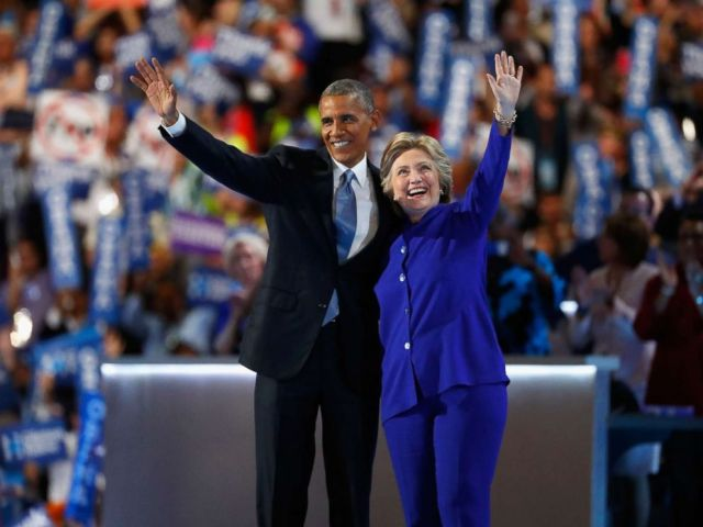 PHOTO: President Barack Obama and Democratic presidential nominee Hillary Clinton acknowledge the crowd on the third day of the Democratic National Convention at the Wells Fargo Center, July 27, 2016 in Philadelphia.
