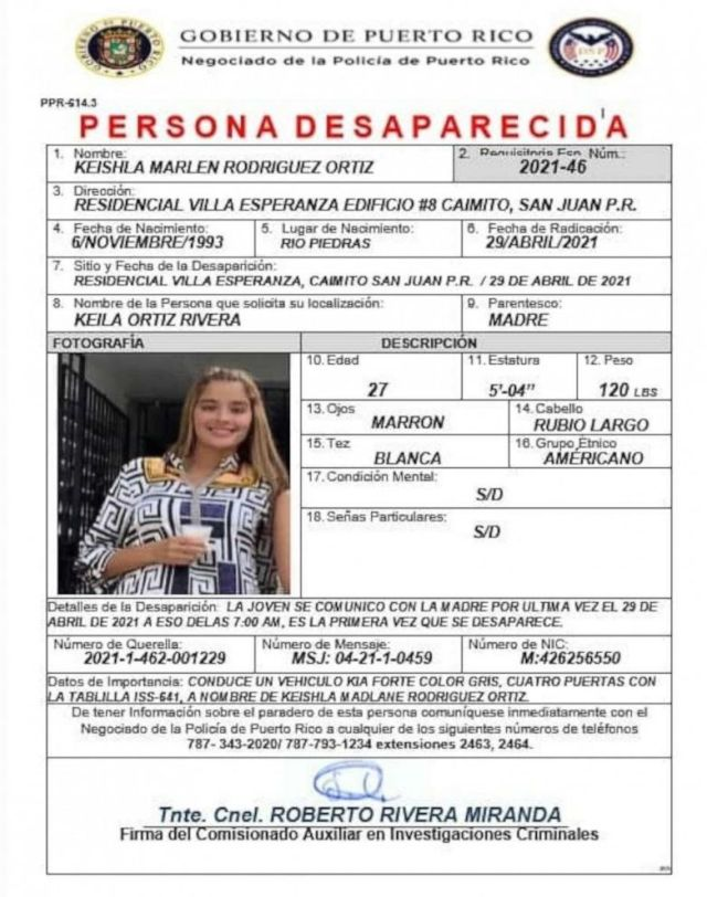 PHOTO: The missing flyer for Keishla Rodriguez Ortiz.