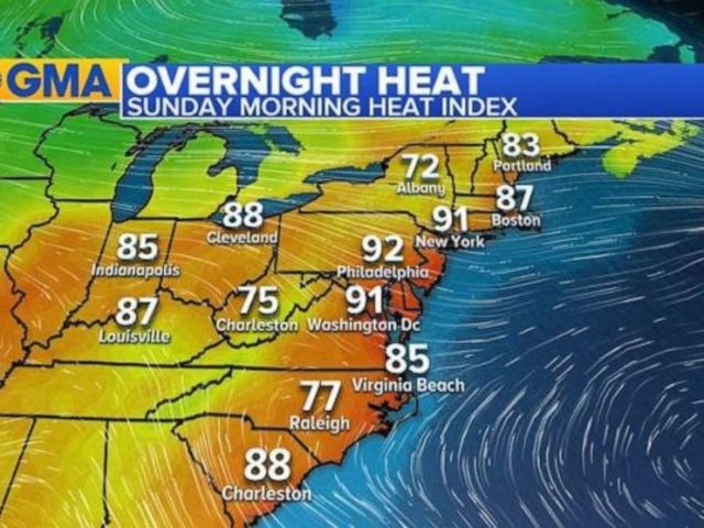 PHOTO: Overnight heat indices were still above 90 degrees from Washington, D.C., to New York City.