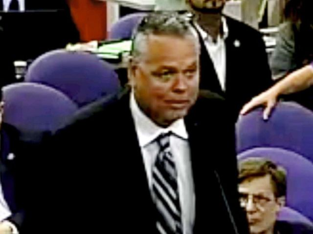 PHOTO: This Feb. 18, 2015 image taken from video provided by Broward County Public Schools shows school resource officer Scot Peterson during a school board meeting of Broward County, Fla.