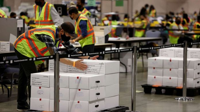PHOTO: Votes are counted at the Pennsylvania Convention Center on Election Day in Philadelphia, Nov. 3, 2020.