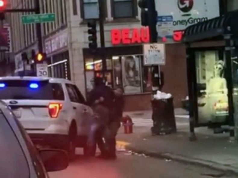 PHOTO: An officer appeared to be seen throwing a man to the ground on Nov. 28, 2019, in Chicago during an arrest