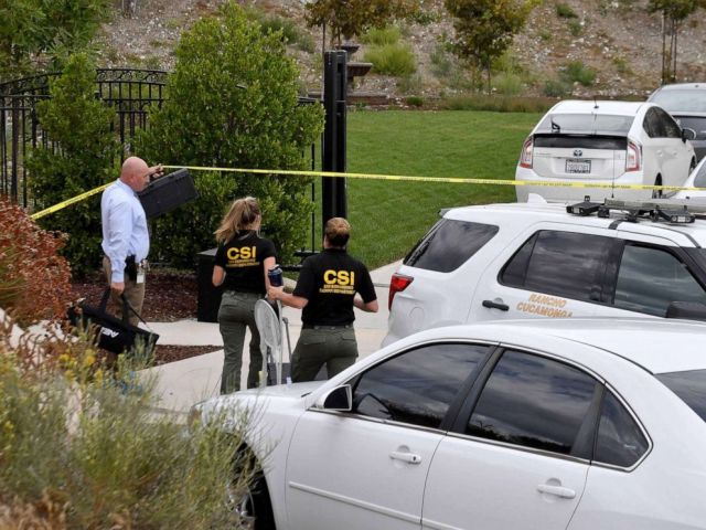 PHOTO: San Bernardino County Sheriff Scientific Investigators prepare to gather evidence following an early morning fatal stabbing in Rancho Cucamonga, Calif., on Sept. 16, 2019.