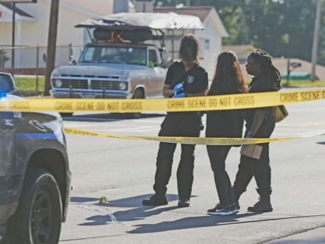 PHOTO: DeKalb County Police investigate a shooting in Stone Mountain, Georgia, on July 22, 2019, in which detectives say a man was shot in the head while attempting to break up a road rage confrontation.