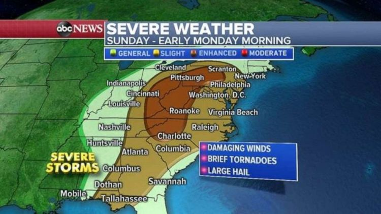 Severe storms will affect a large portion of the East Coast on Sunday.