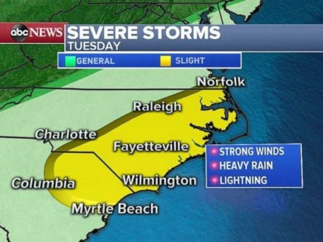 PHOTO: Severe weather is possible from Myrtle Beach, S.C., to Norfolk, Va., on Tuesday.