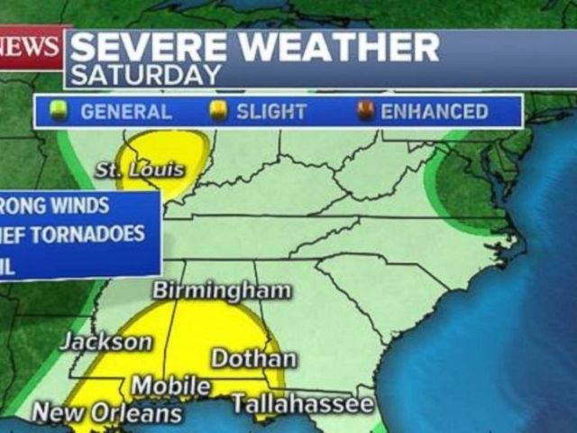 PHOTO: A slight risk for severe weather exists along the Gulf Coast and in southern Illinois on Saturday.