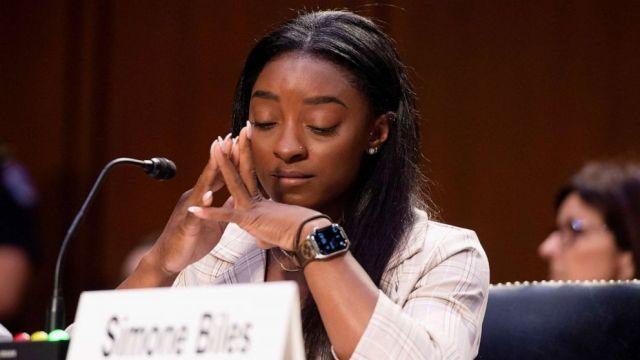 PHOTO: U.S. Olympic gymnast Simone Biles testifies during a Senate Judiciary hearing on Capitol Hill, in Washington, D.C., Sept. 15, 2021.