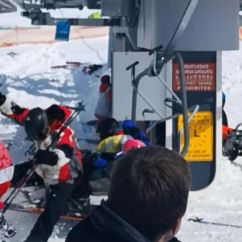 Ski Chair Lift Malfunction Chairs Folding Several People Hurt After Terrifying At Georgia Malfunctioning Equipment Gudauri Resort Located On The South Facing Plateau Of Greater
