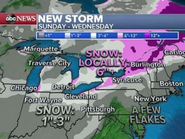 PHOTO: Northern New York could see 6 inches of snow or more in the beginning of the week ahead.