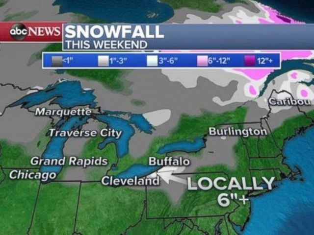 PHOTO: As much as half a foot of snow could fall along northeast Lake Erie due to lake effect snow over the weekend.