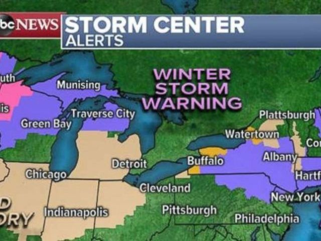 PHOTO: Winter storm warnings and winter weather advisories are in place in the Great Lakes and Northeast on Sunday.